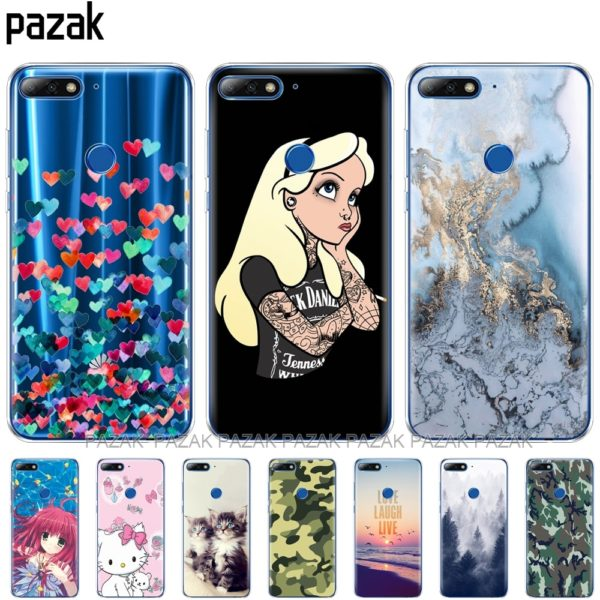 , Silicone phone Case For huawei Y7 2018/Y7 Prime 2018 case soft TPU Phone Back cover full 360 Protective colorful news