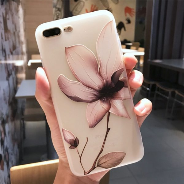 , Tikitaka Lotus Flower Case For iPhone 8 Plus XS Max XR 3D Relief Rose Floral Phone Case For iPhone X 7 6 6S Plus 5 SE TPU Cover