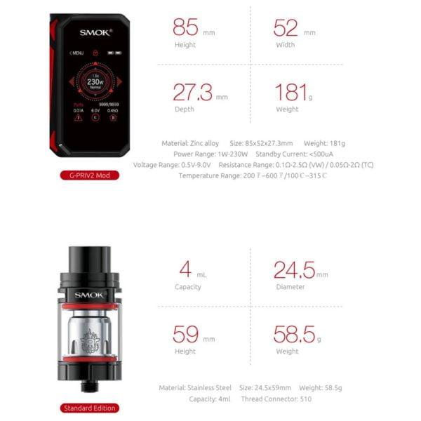 , SMOK G-PRIV 2 Kit Electronic Cigarette E Vaporizer Vape Box Mod with TFV8 X-Baby Tank VS SMOK Alien Buy Kit Get 3 Coil Free S169