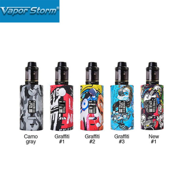 , New Vapor Storm Storm230 200W TC Kit with Hawk Tank 2ml Capacity Powered By Dual 18650 Battery Unique Graffiti Design Vape Mod